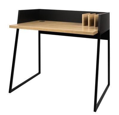 Möbel - Büromöbel - Working Schreibtisch - POP UP HOME - Schwarz / Tischbeine Eiche - lackiertes Metall, Leichtbauplatten, mitteldichte bemalte Holzfaserplatte, Placage chêne