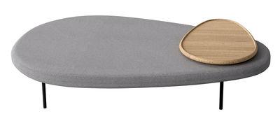 Möbel - Sitzkissen - Lily Sitzkissen L 110 cm / drehbare Tischplatte - Casamania - Grau / Holz natur - Gewebe, Holz, Metall, Schaumstoff