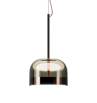 Illuminazione - Lampadari - Sospensione Equatore small - / LED - Vetro - Ø 24  cm di Fontana Arte - Ø 24 x H 44 / Rame & marrone - Metallo, vetro soffiato