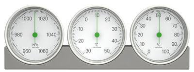 Accessoires - Pratique et malin - Station météo Météo / Thermomètre, baromètre & hygromètre - Magis - Gris / Aigyuille verte - ABS