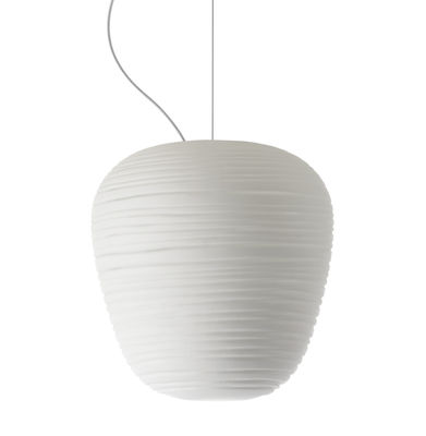 Luminaire - Suspensions - Suspension Rituals 3 / Ø 19 x H 21 cm - Foscarini - Blanc / Ø 19 x H 21 cm - Verre soufflé bouche