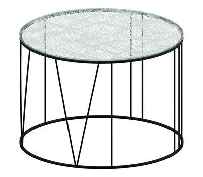 Table basse Roma / Ø 70 cm - Verre avec motifs gravés - Zeus blanc,transparent,noir cuivré en métal