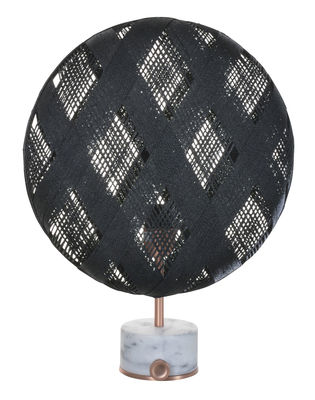 Lighting - Table Lamps - Chanpen Diamond Table lamp - Ø 36 cm - Diamond patterns by Forestier - Black / Base copper - Marble, Metal, Woven acaba