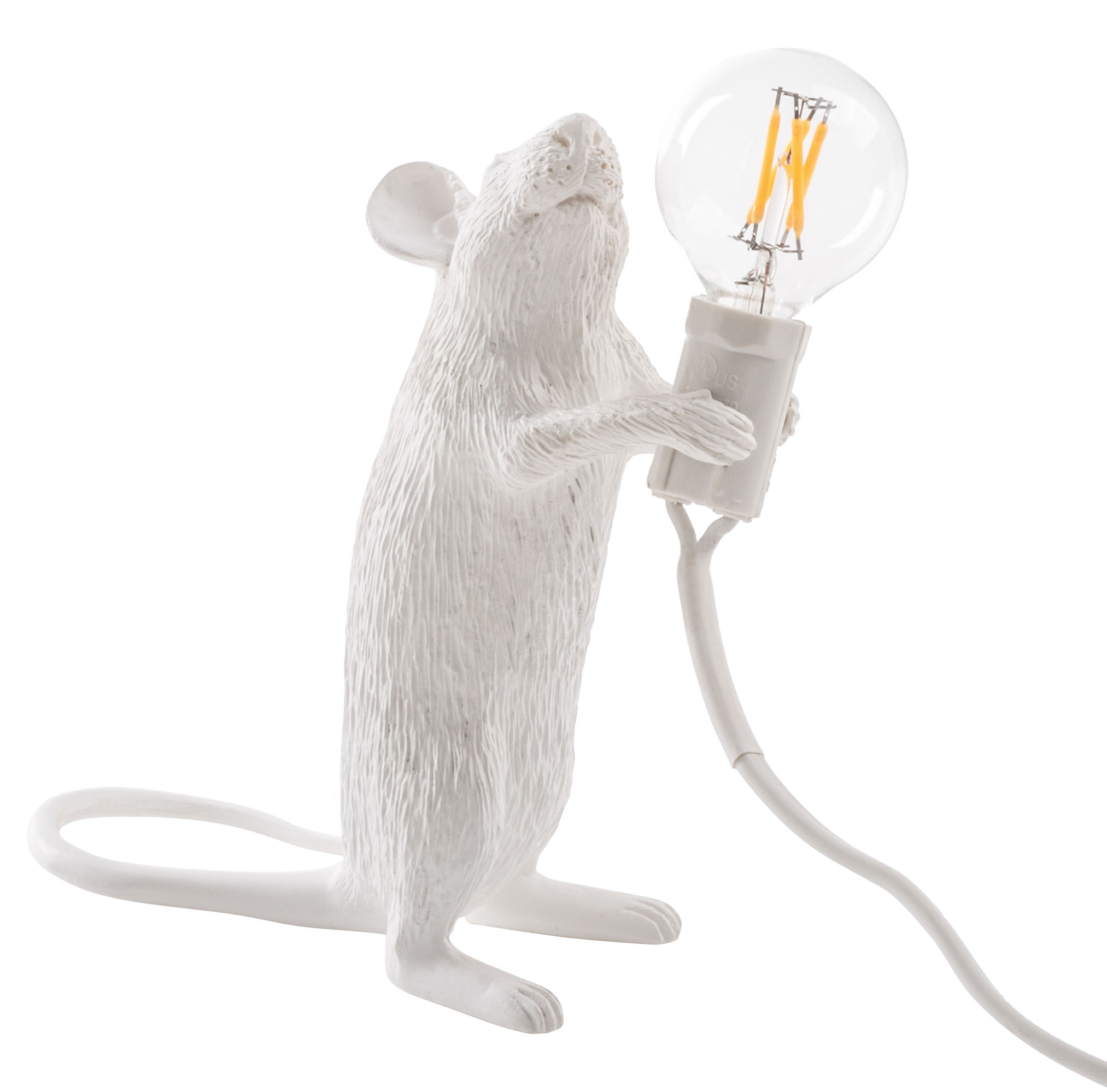 Decoration - Children's Home Accessories - Mouse Standing #1 Table lamp by Seletti - Standing / White - Resin