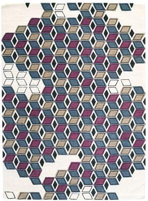 Serenissime Teppich / 170 x 240 cm - Toulemonde Bochart - Weiß,Blau,Schwarz,Beige