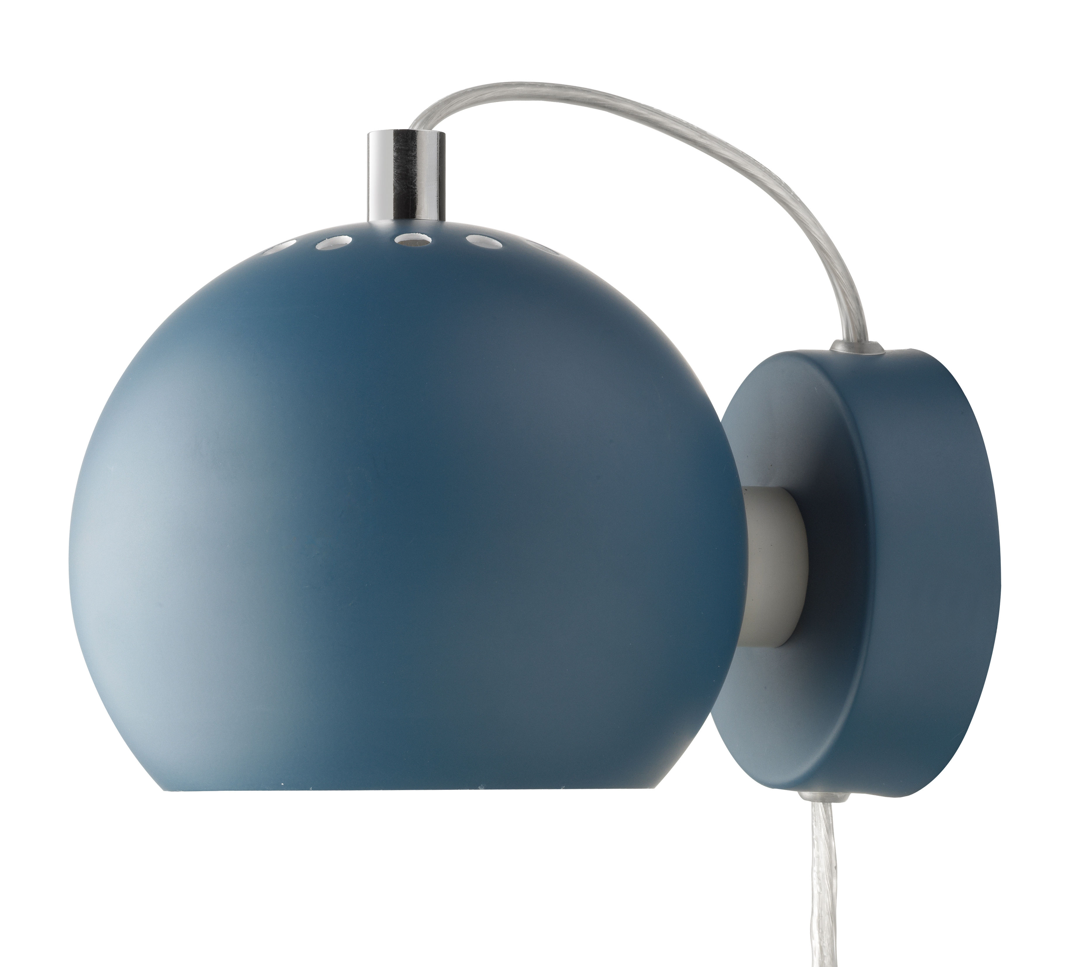 Lighting - Wall Lights - Ball Wall light with plug by Frandsen - Petroleum blue - Varnished metal