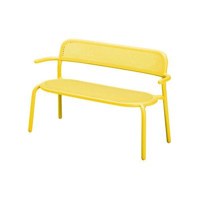 Furniture - Benches - Toní Bankski Bench with backrest - / L 127 cm - Perforated aluminium by Fatboy - Lemon yellow - Powder-coated aluminium