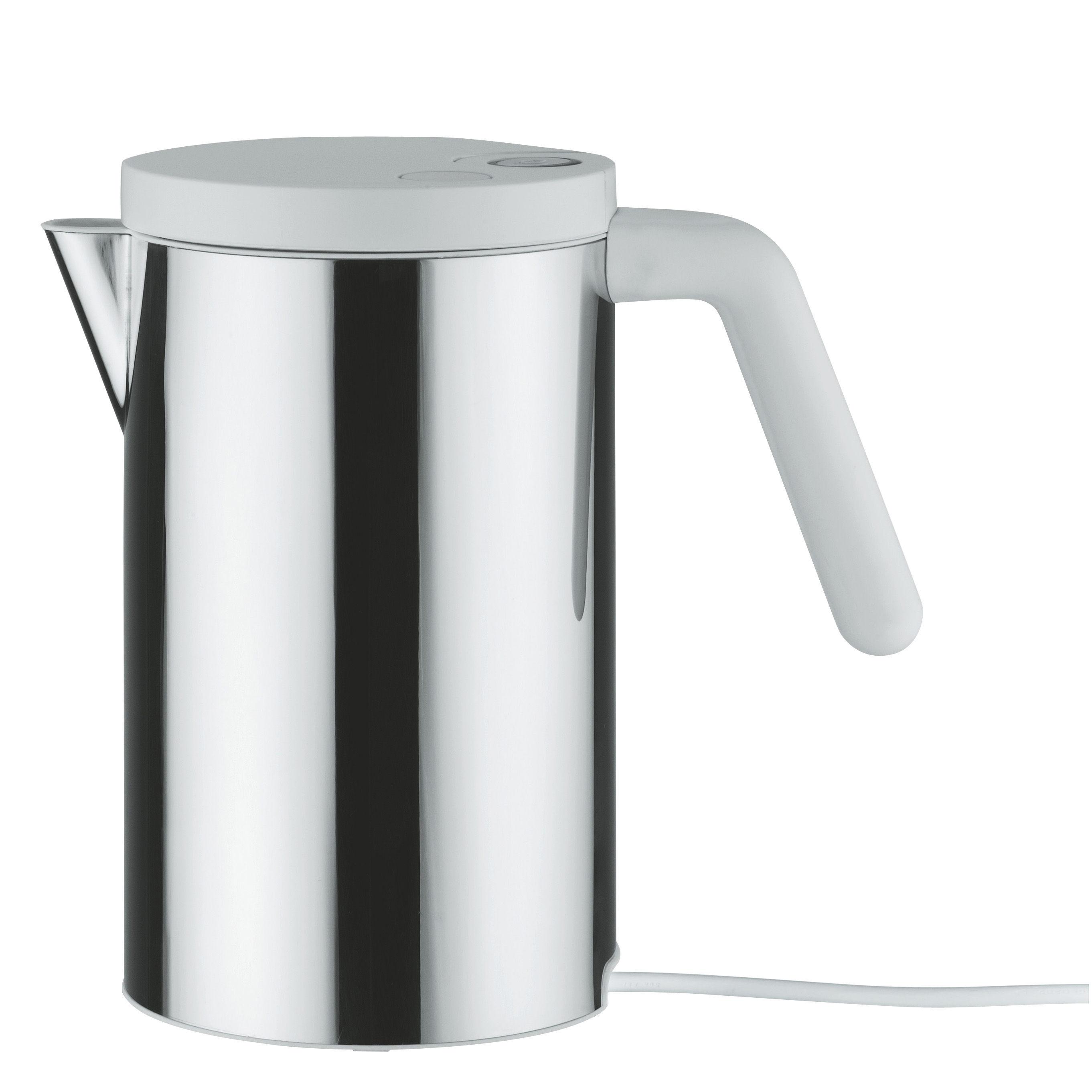 Cuisine - Electroménager - Bouilloire électrique Hot.it 80 cl - Alessi - 80 cl - Acier & Blanc - Acier inoxydable, Résine thermoplastique