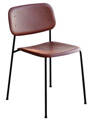 Chaise empilable Soft Edge 10 / Bois & Métal - Hay rouge,noir en bois