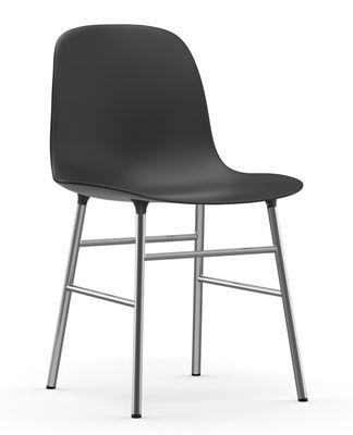 Chaise Form / Pied chromé - Normann Copenhagen noir,chromé en matière plastique