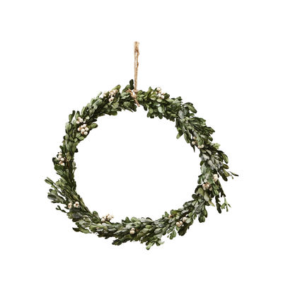 Decoration - Home Accessories - Misteltoe Large Christmas wreath - / Ø 35 cm - Artificial boxwood & berries by House Doctor - Ø 35 cm / Green & beige berries - Plastic material