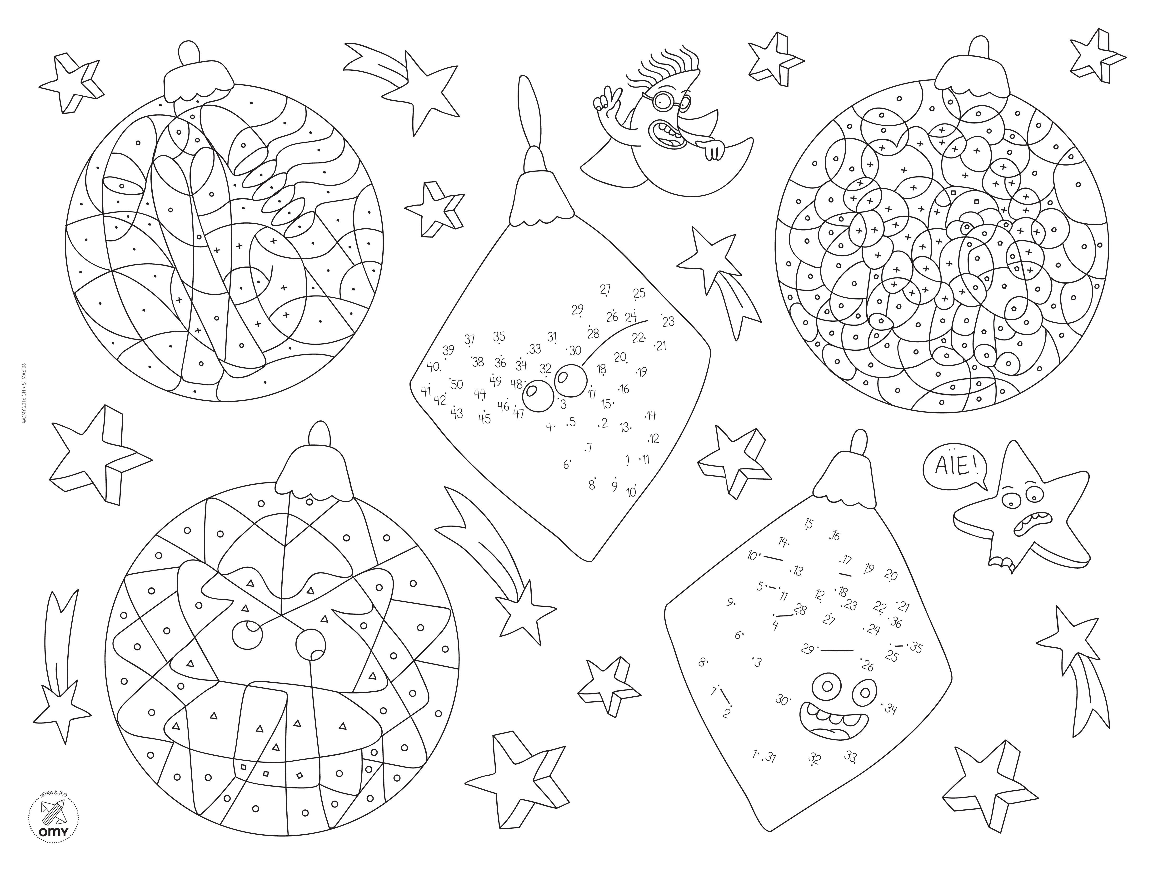 colouring mat set christmas by omy design  u0026 play  black