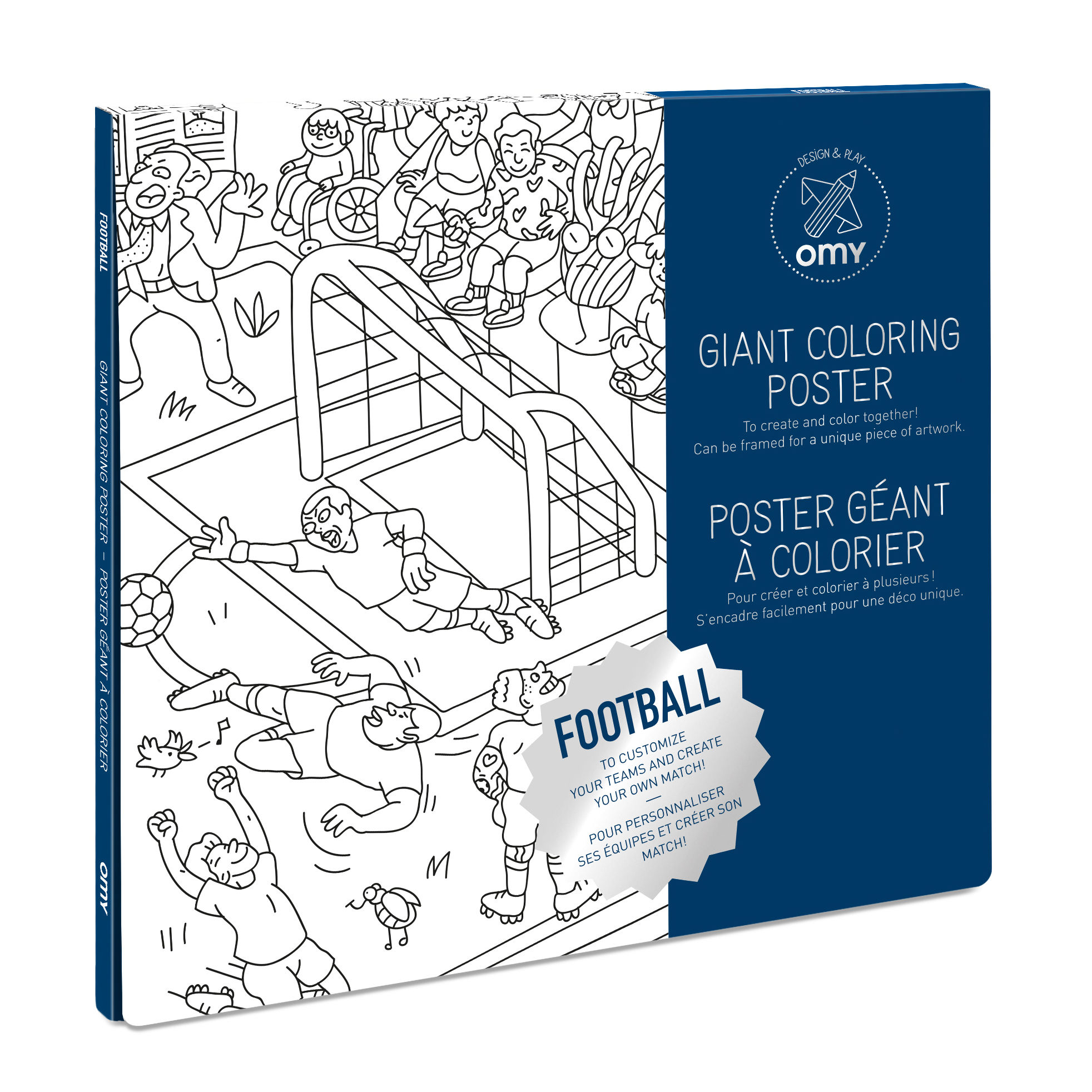 Decoration - Children's Home Accessories - Football Colouring poster - / 100 x 70 cm by OMY Design & Play - Football - Paper