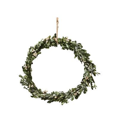 Couronne de Noël Misteltoe Large / Ø 35 cm - Buis atificiel & baies - House Doctor vert en matière plastique