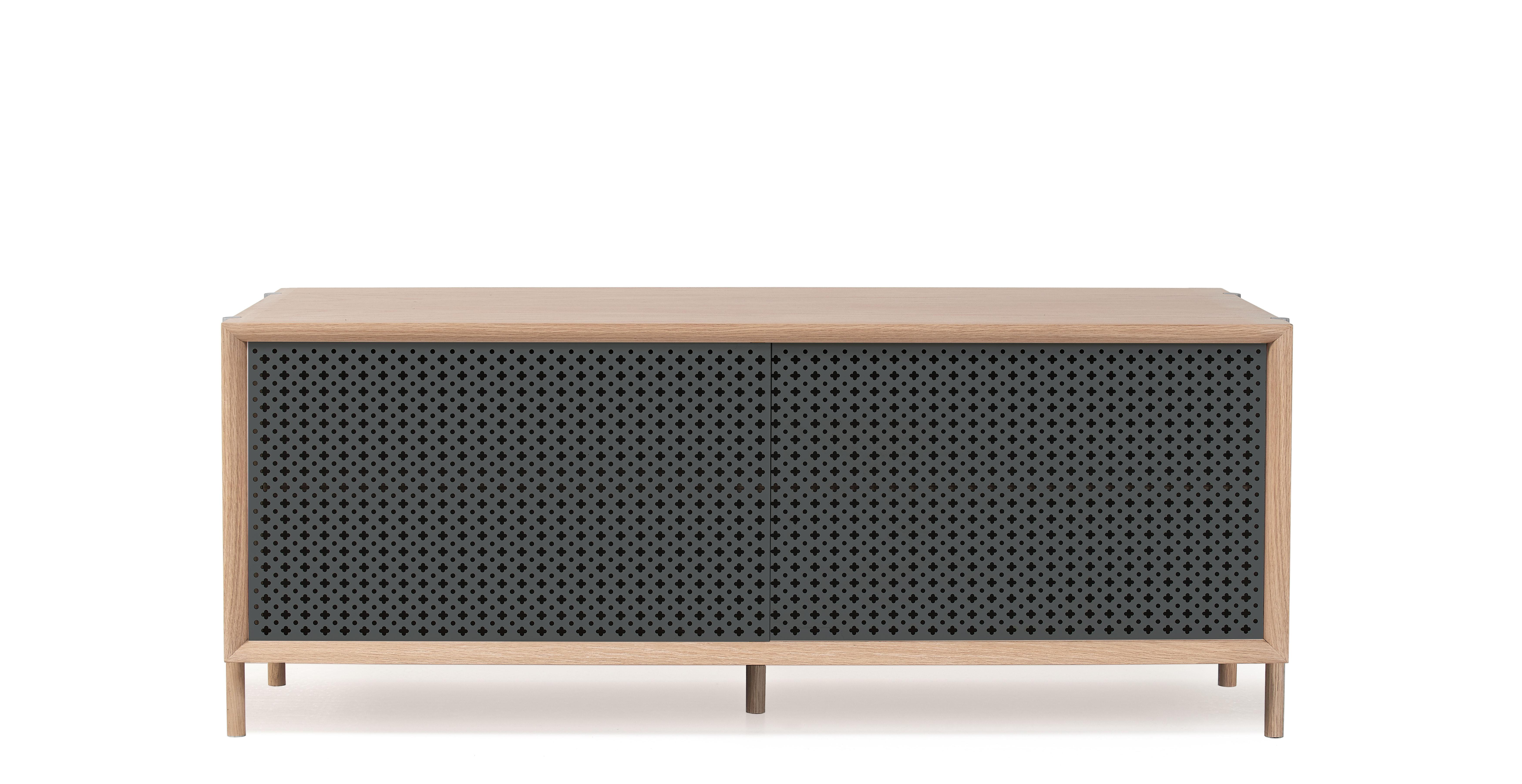 Furniture - Dressers & Storage Units - Gabin Dresser - L 122 cm - Oak & metal by Hartô - Slate grey & oak - MDF veneer oak, Perforated metal, Solid oak