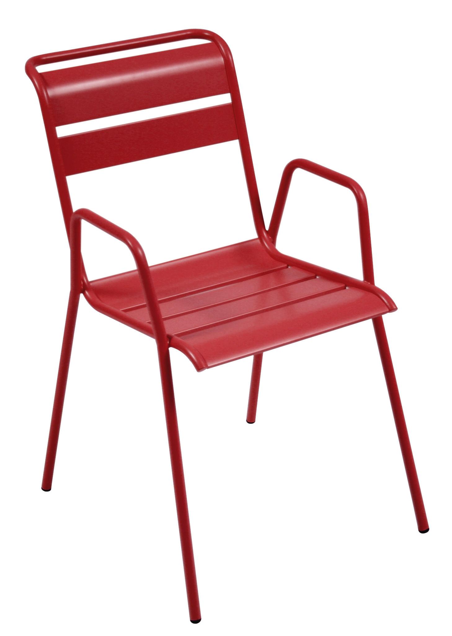 Mobilier - Chaises, fauteuils de salle à manger - Fauteuil empilable Monceau / Métal - Fermob - Coquelicot - Acier peint