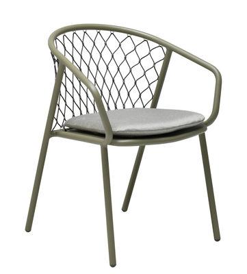 Mobilier - Chaises, fauteuils de salle à manger - Fauteuil Nef / Métal & polyester - Emu - Fauteuil / Vert gris & dossier gris - Aluminium verni, Cordes synthétiques