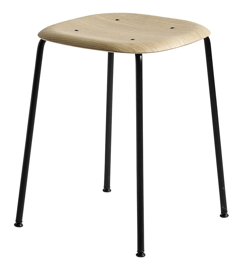 Möbel - Hocker - Soft Edge 70 Hocker / H 47 cm - Holz & Metall - Hay - Eiche / Fußgestell schwarz - klarlackbeschichtetes Eichenholzfurnier, lackierter Stahl