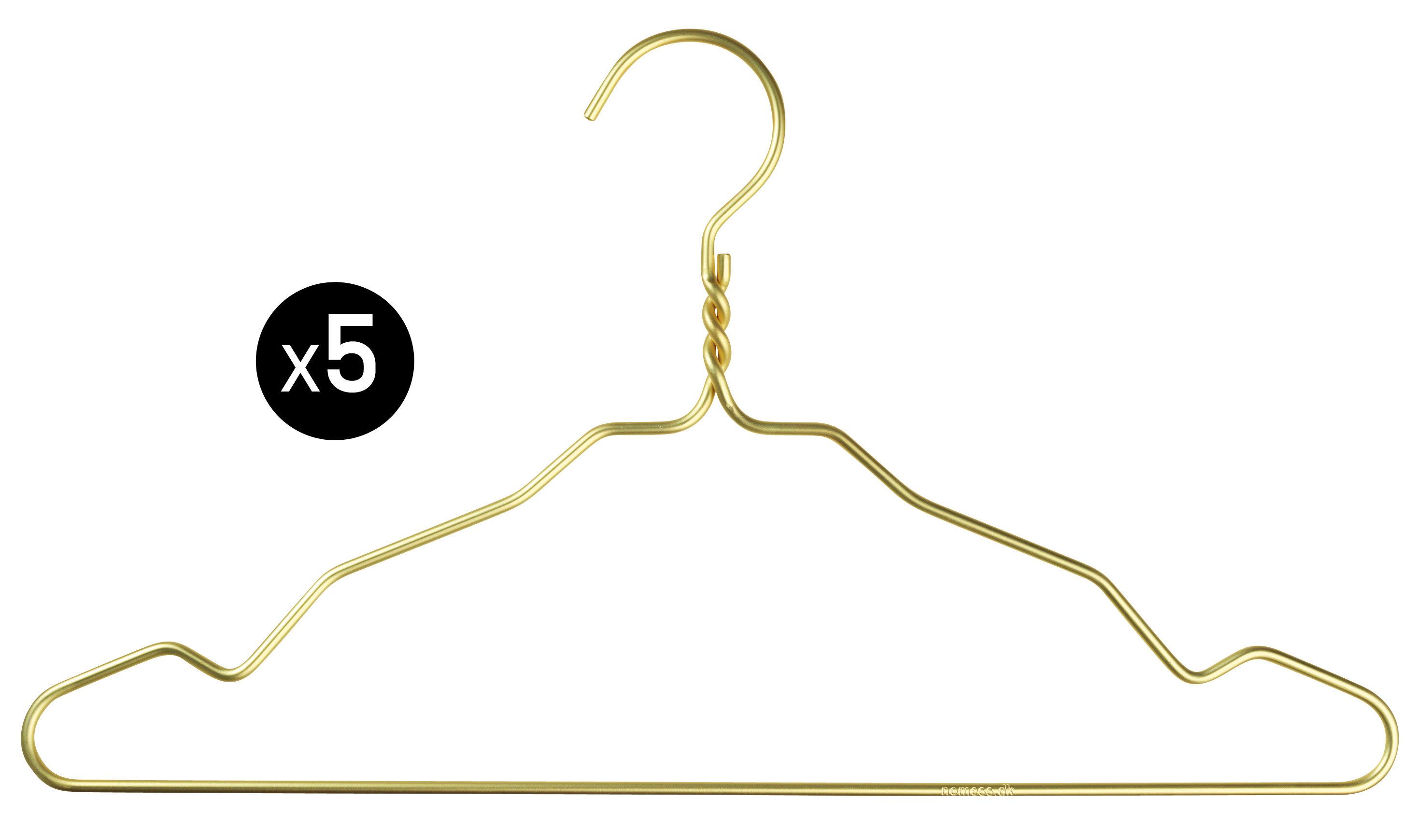 Dekoration - Garderoben und Kleiderhaken - W. Notch Kleiderbügel / 5-er Set - Nomess - Goldfarben - Aluminium