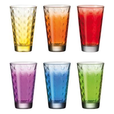 Tableware - Wine Glasses & Glassware - Optic Long drink glass - Set 6 multicoloured glasses by Leonardo - Multicolored - Thin layered glass