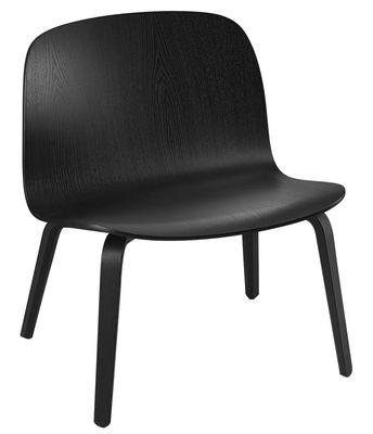 Furniture - Armchairs - Visu Low armchair by Muuto - Black - Varnished oak