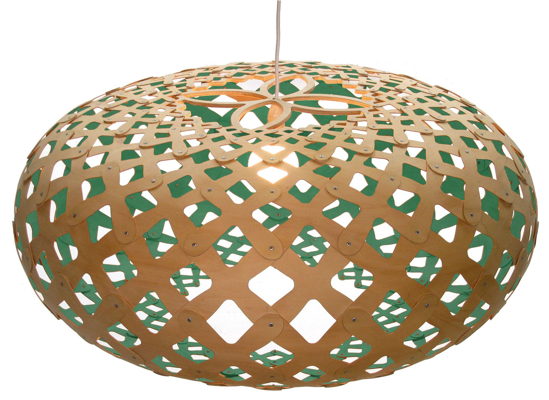 Lighting - Pendant Lighting - Kina Pendant - Ø 80 cm - Two-coloured by David Trubridge - Aqua blue/ natural wood - Pine