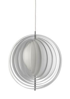 Leuchten - Pendelleuchten - Moon Pendelleuchte Hängelampe / Ø 34 cm - Panton 1960 - Verpan - Weiß - bemaltes Metall, verchromtes Metall