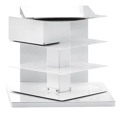Rotating bookshelf Ptolomeo by Opinion Ciatti - White | Made In Design UK