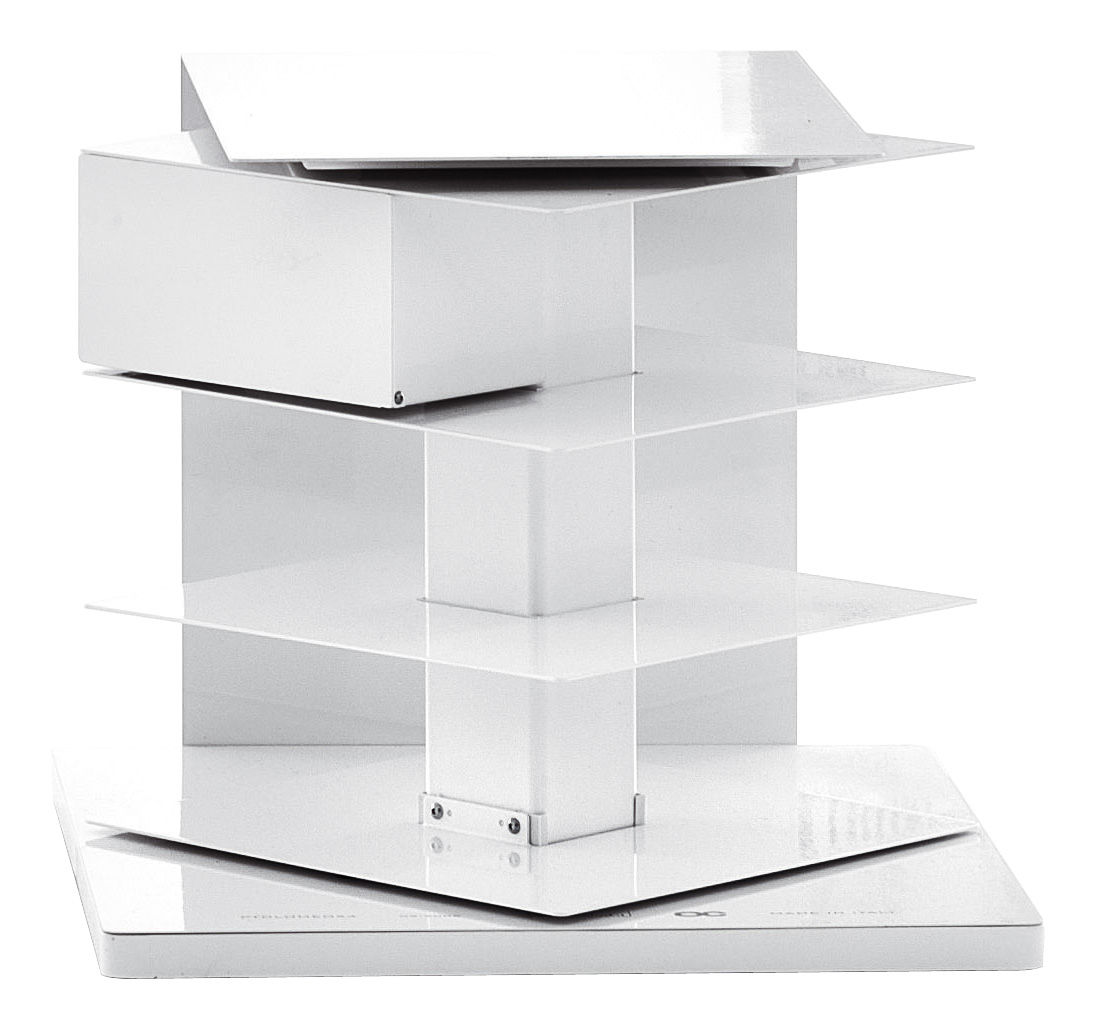 Furniture - Bookcases & Bookshelves - Ptolomeo Rotating bookshelf - 4 sides by Opinion Ciatti - White - Lacquered steel
