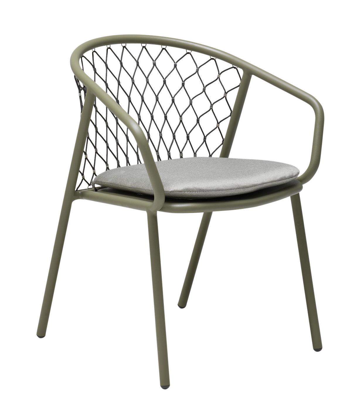 Möbel - Stühle  - Nef Sessel / Metall & Polyester - Emu - Lehnstuhl / grau-grün & Rückenlehne grau - Cordes synthétiques, klarlackbeschichtetes Aluminium
