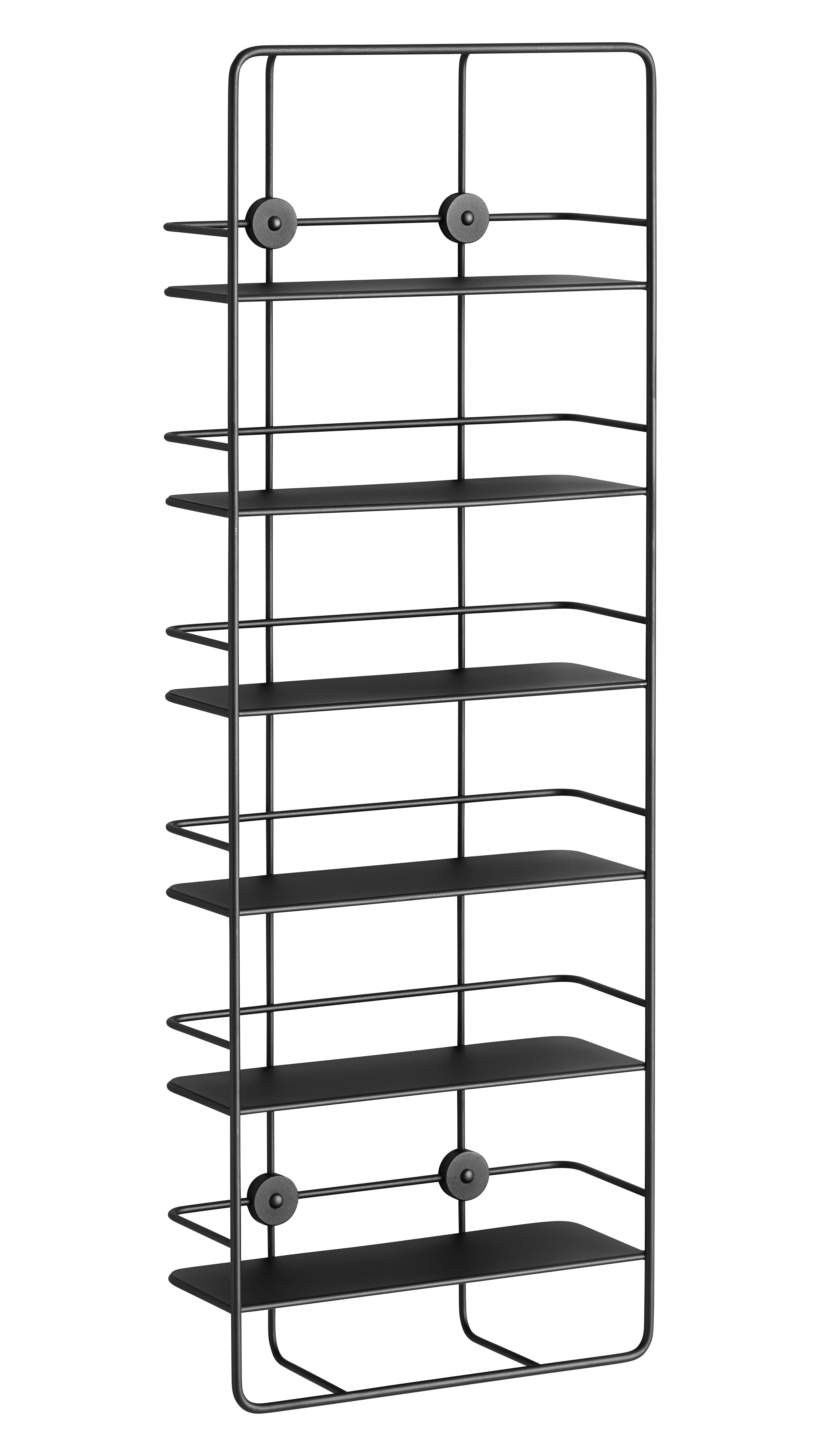 Furniture - Bookcases & Bookshelves - Coupé Shelf - Vertical - W 37 x H 103 cm by Woud - Black - Epoxy lacquered metal