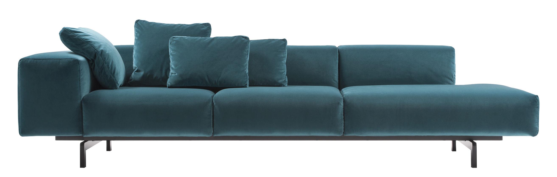 Möbel - Sofas - Largo Velluto Sofa / 3-Sitzer - L 298 cm - Velours - Kartell - Velours, Entenblau - geschäumtes Polyurhethan, lackierter Stahl, Velours