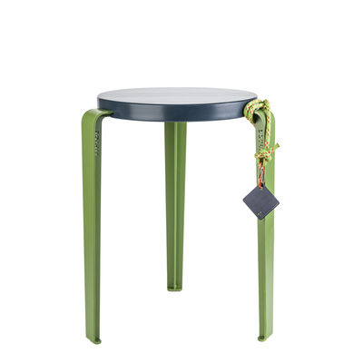 Furniture - Stools - Lou Stackable stool - By Romain Costa / Limited Christmas 2020 edition by TIPTOE - Deep blue and bright green - Powder coated steel, Solid oak