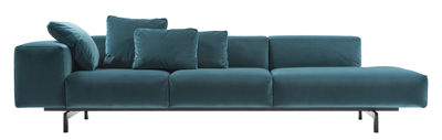 Furniture - Sofas - Largo Velluto Straight sofa - 3 seaters / L 298 cm - Left armrest by Kartell - Blue - Expanded polyurethane, Lacquered steel, Velvet