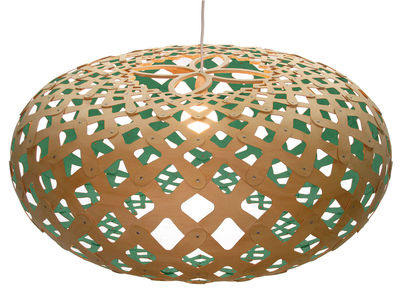 Luminaire - Suspensions - Suspension Kina / Ø 80 cm - Bicolore - David Trubridge - Vert d'eau / bois naturel - Pin
