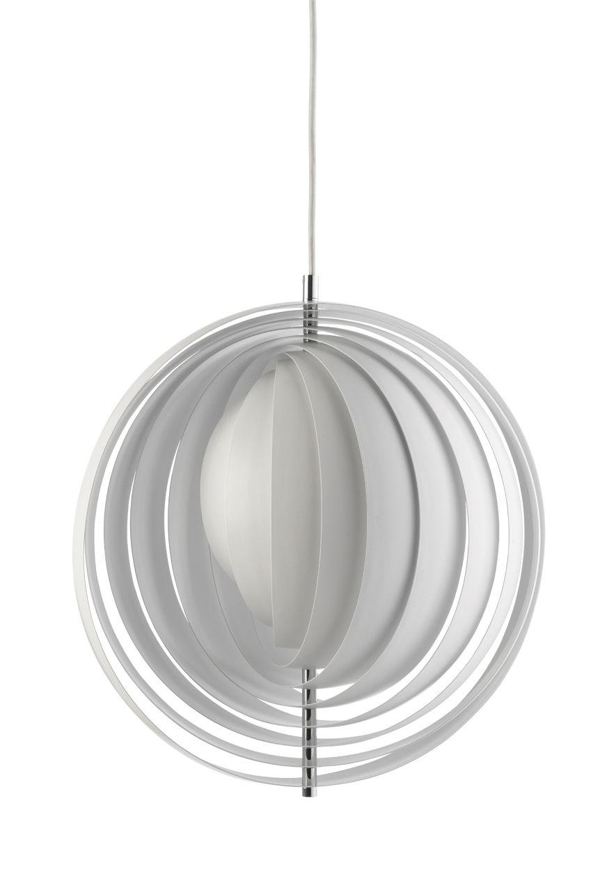 Luminaire - Suspensions - Suspension Moon / Ø 34 cm - Panton 1960 - Verpan - Blanc - Métal chromé, Métal peint