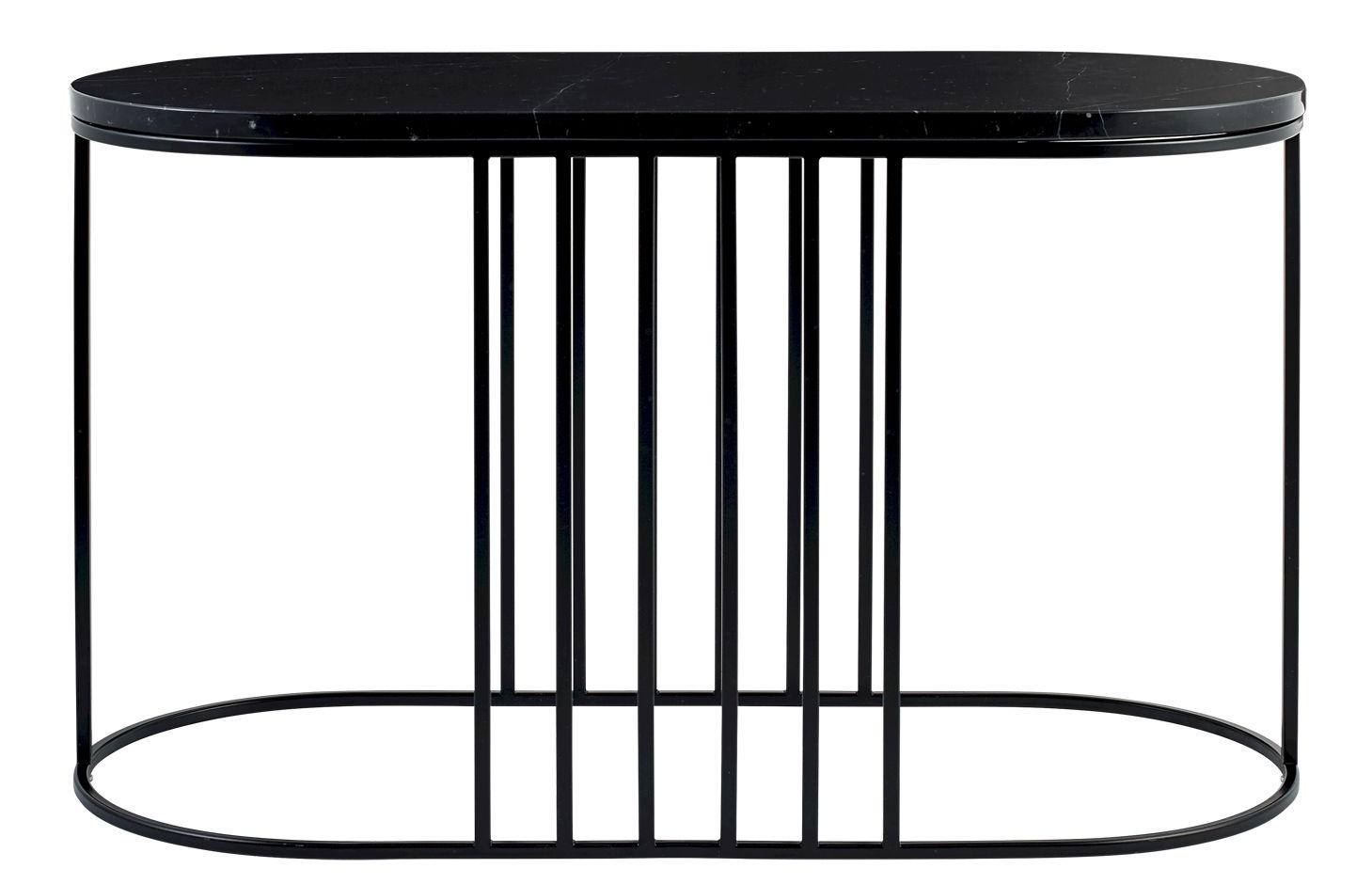 Mobilier - Tables basses - Table basse Posea / Marbre - 80 x 35 cm - Bolia - Marbre noir / Base noire - Acier verni, Marbre