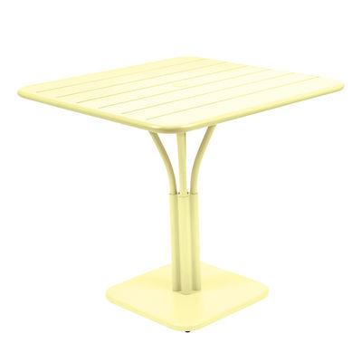 Table carrée Luxembourg / 80 x 80 cm - Pied central - Fermob citron givré en métal