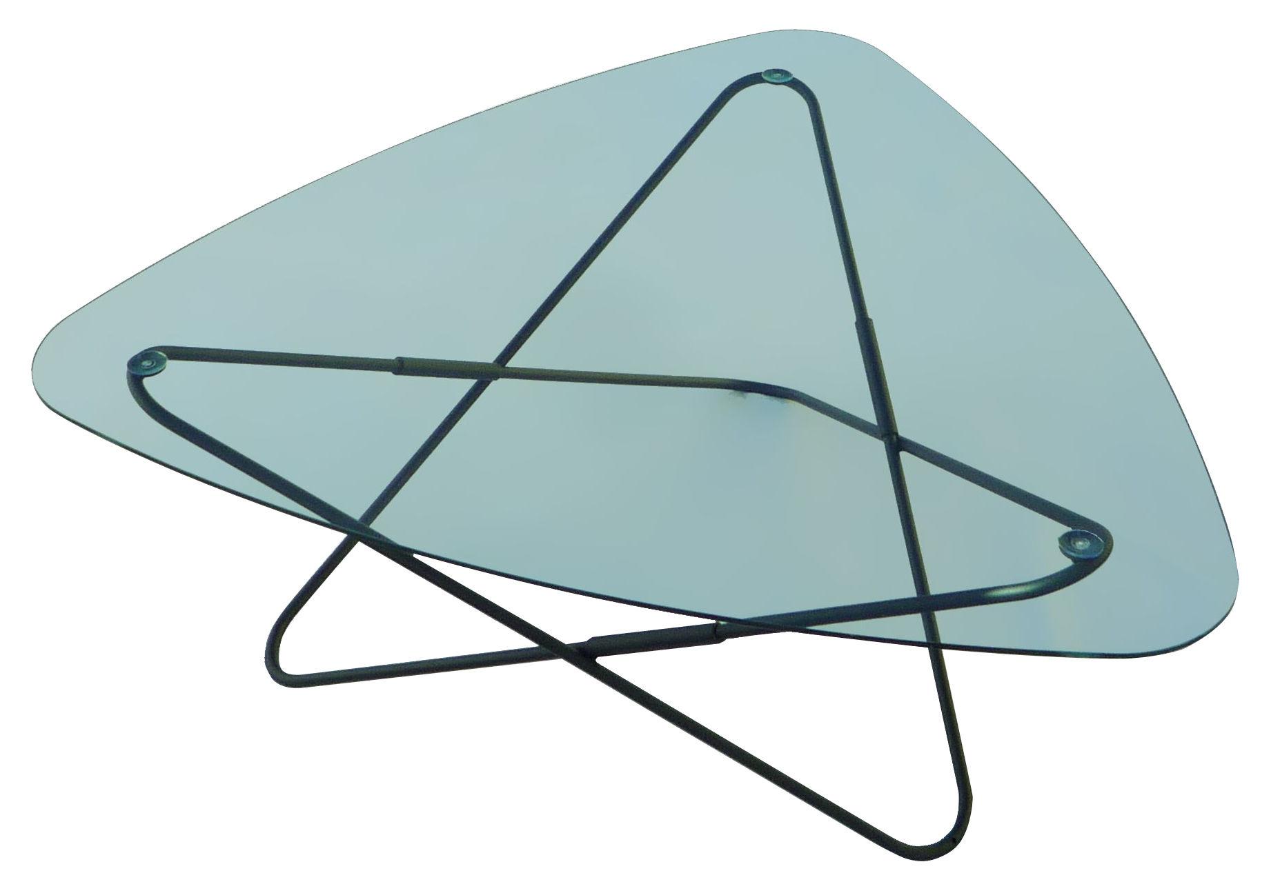 Arredamento - Tavolini  - Tavolino AA Butterfly - Struttura nera - L 95 cm di AA-New Design - Struttura nera / Vetro trasparente - Acciaio laccato, Vetro temprato
