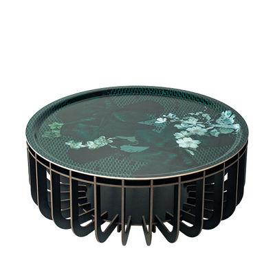 Arredamento - Tavolini  - Tavolino Medusa Large - / Ø 65 x H 27 cm - Piano rimovibile di Ibride - Gambe nere / Vibrante Smeraldo - Laminato HPL
