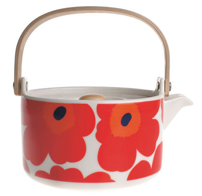 Tableware - Tea & Coffee Accessories - Unikko Teapot by Marimekko - Unikko - Red & white - Sandstone
