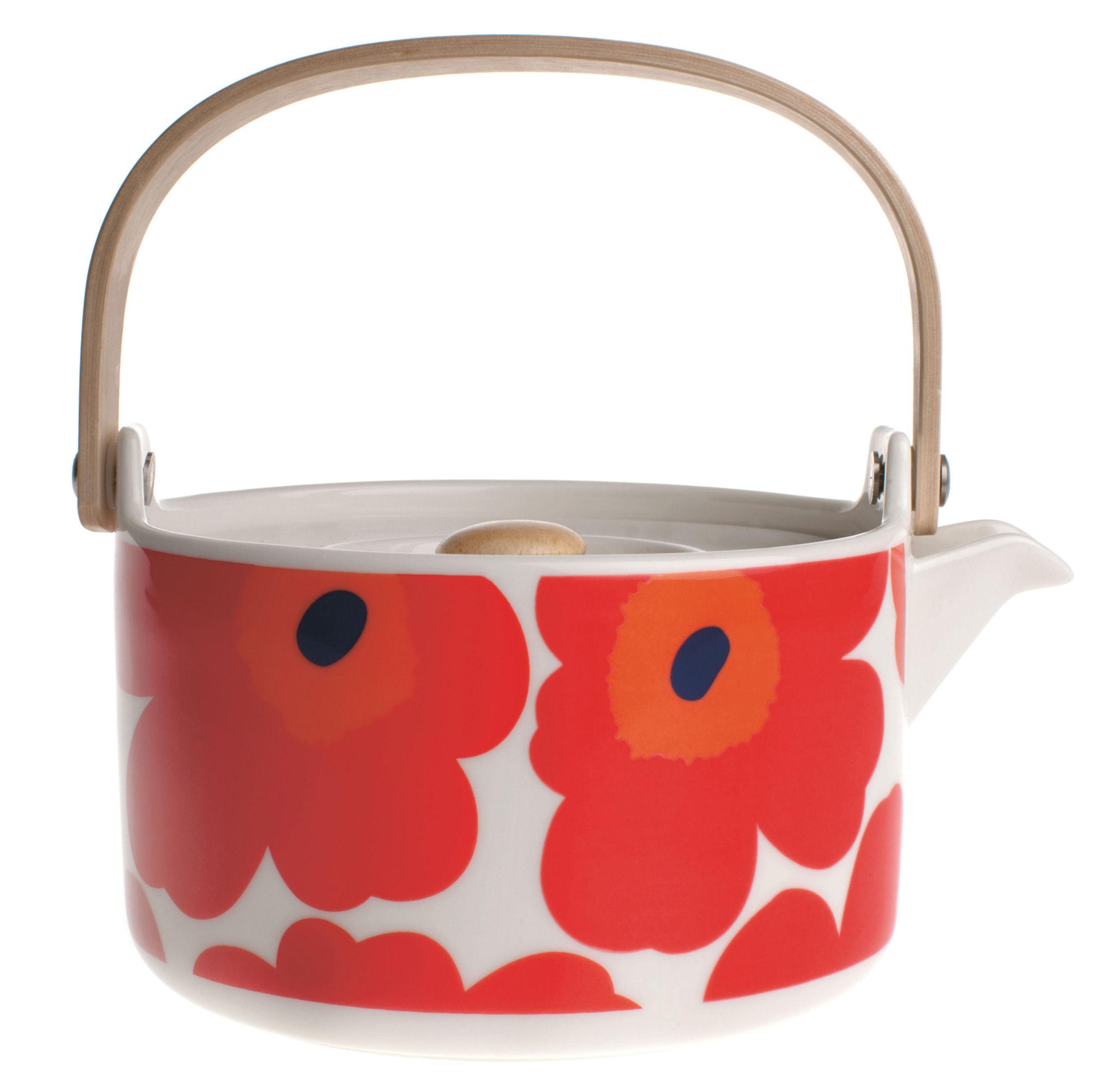 Tischkultur - Tee und Kaffee - Unikko Teekanne - Marimekko - Unikko - Rot & weiß - Sandstein