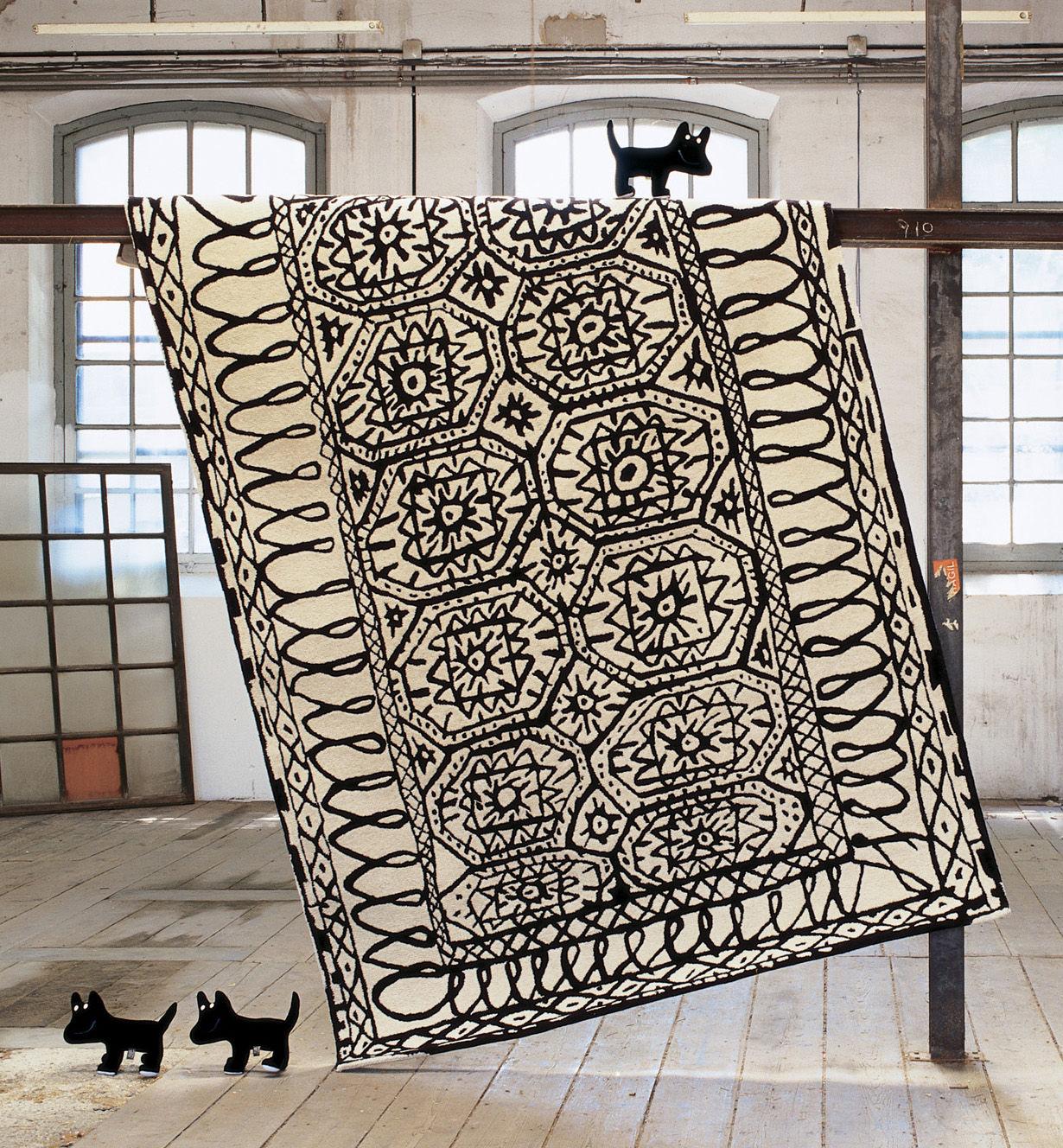 Möbel - Teppiche - Black on white - Estambul Teppich - Nanimarquina - 170 x 255 cm - schwarz und weiß - Wolle