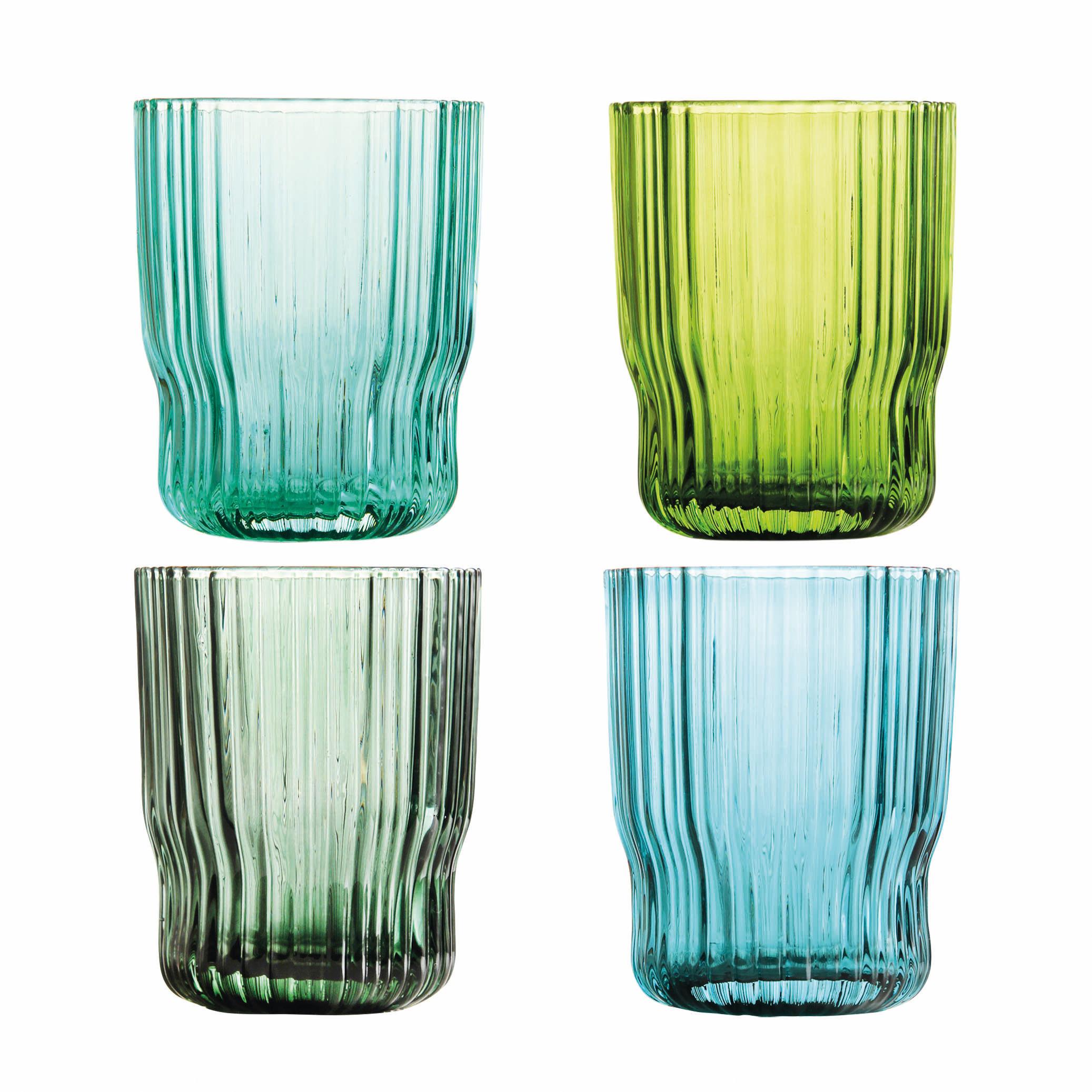Tavola - Bicchieri  - Bicchiere Riffle - / Set di 4 di & klevering - Multicolore - Verre texturé