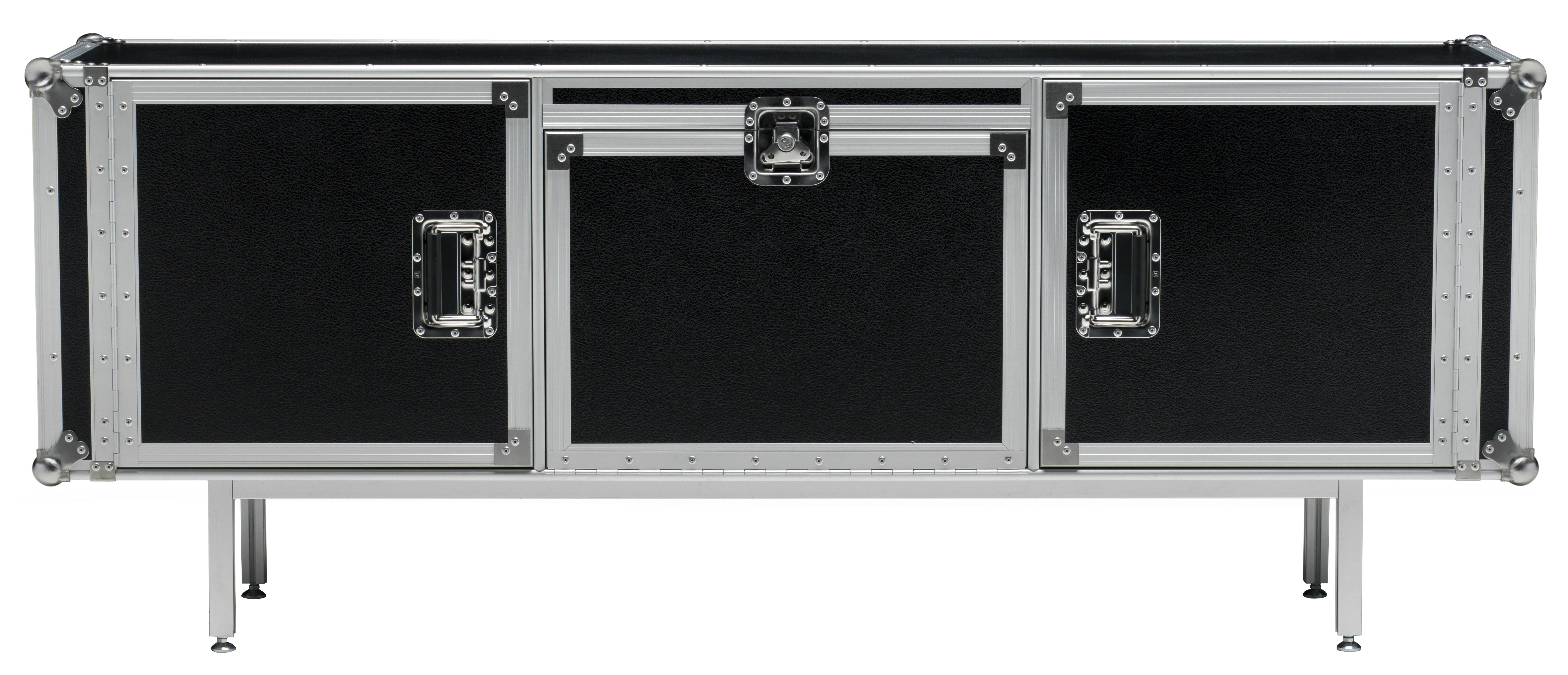 Mobilier - Commodes, buffets & armoires - Buffet Total Flightcase L 180 cm - Diesel with Moroso - Noir - Acier chromé, Stratifié