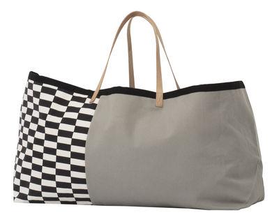 Cabas Herman / L 67 x H 39 cm - Coton & poignées cuir - Ferm Living blanc,gris,noir en tissu