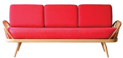 Canapé droit Studio Couch 3 places L 206 cm Rééditon 1950' Ercol rouge,bois naturel en tissu