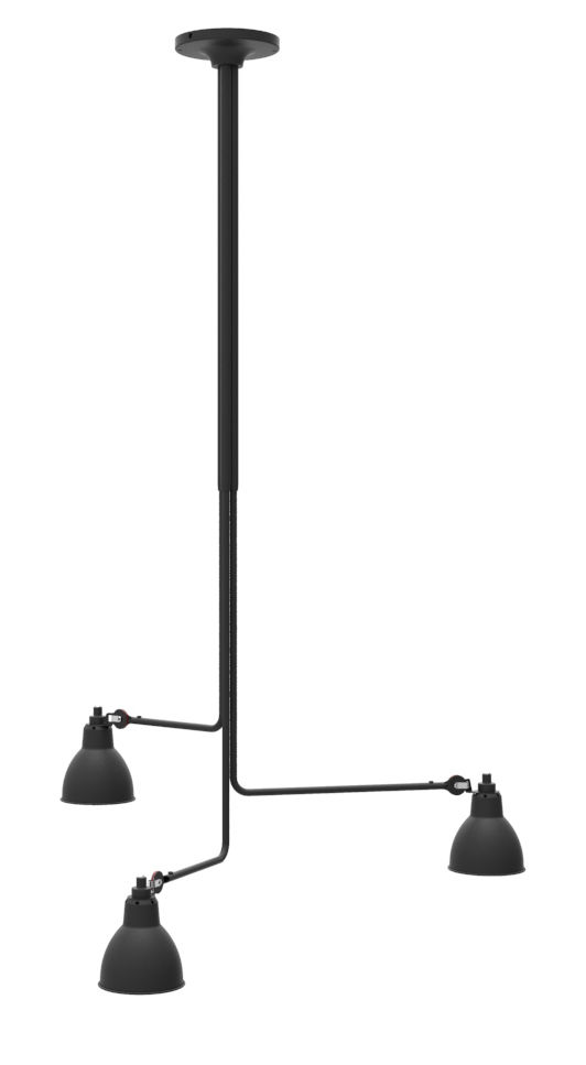 Lighting - Pendant Lighting - N°315 Triple Ceiling light - / 3 telescopic arms - L 86 to 150 cm by DCW éditions - Black - Cast steel, Steel