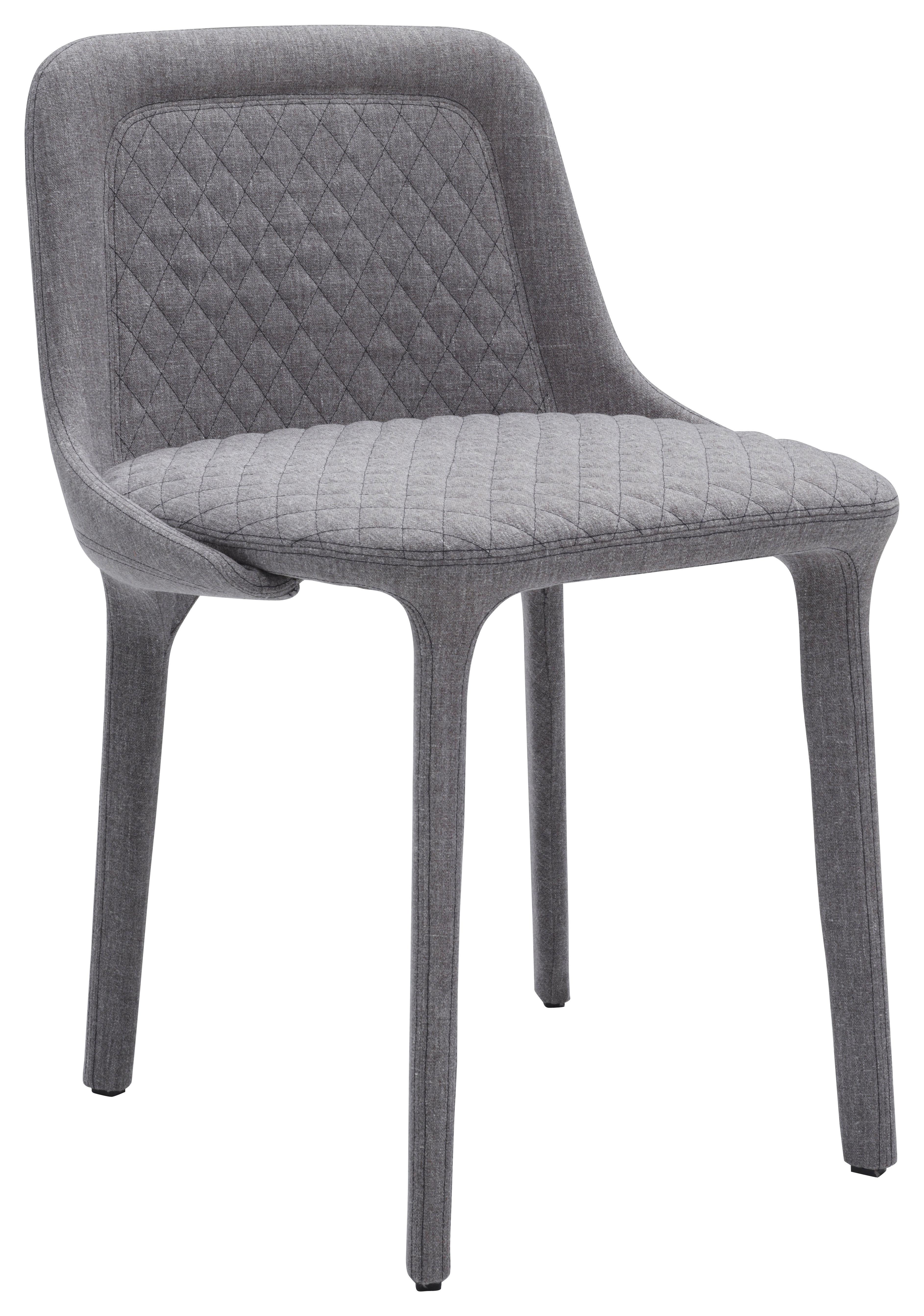 Mobilier - Chaises, fauteuils de salle à manger - Chaise rembourrée Lepel / Tissu matelassé - Casamania - Tissu Willow gris / Couture noire - Métal, Mousse polyuréthane, Tissu Kvadrat
