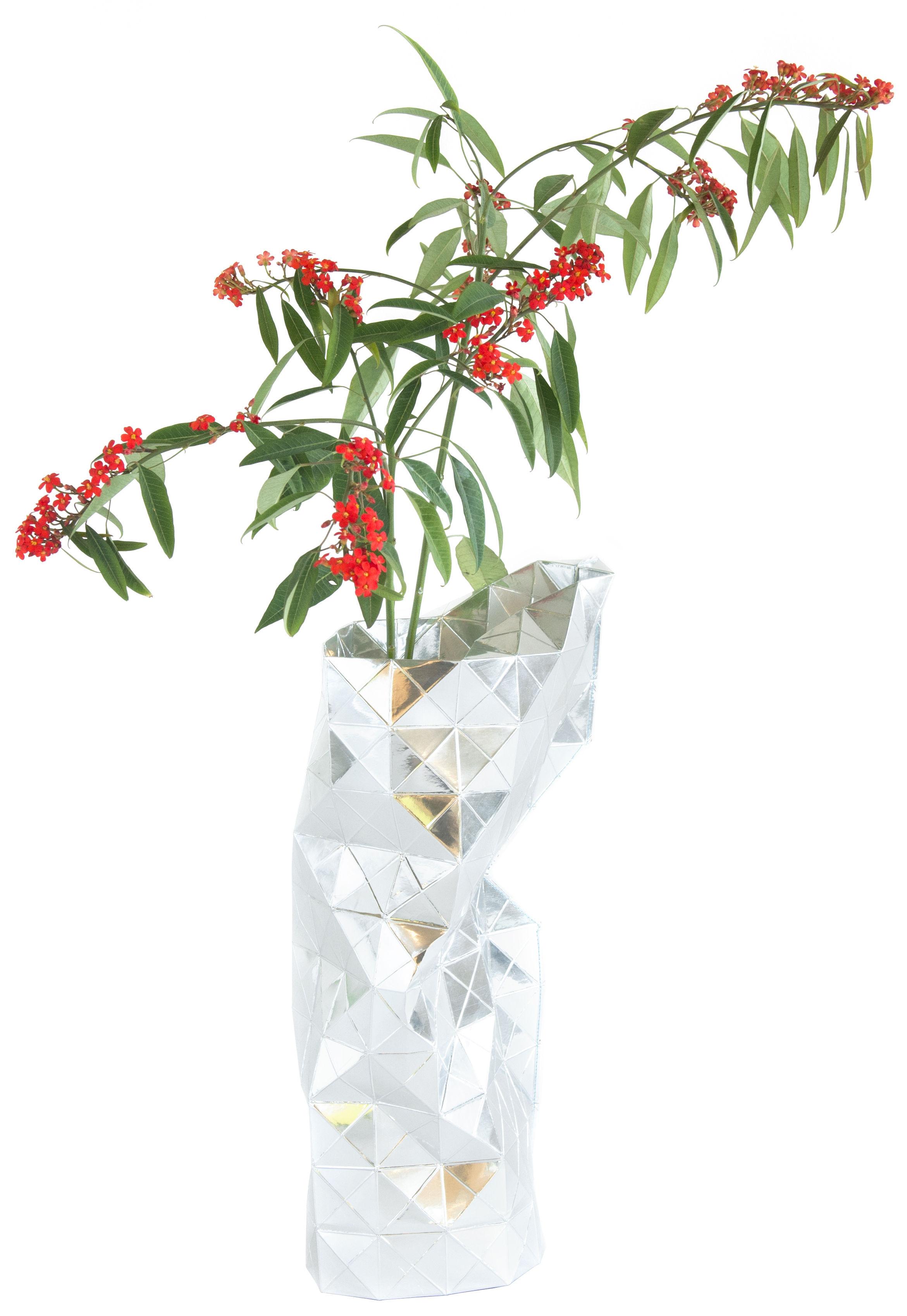 Interni - Vasi - Copri vaso Paper - / Ø 18  x H 42 cm di Pop Corn - Cromato - Papier pelliculé